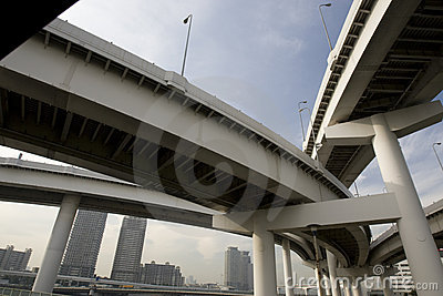 Highway bridges in city