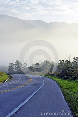 Free Highway Empty With Fog, Hills And Trees Royalty Free Stock Photos - 123863578