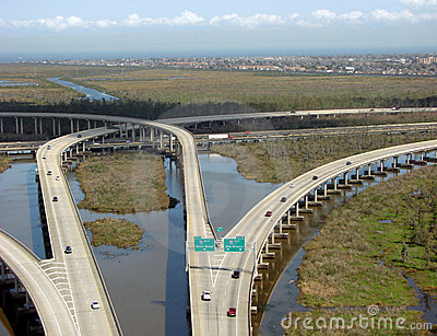 Highway Interchange over Bayou Swamp in Louisiana