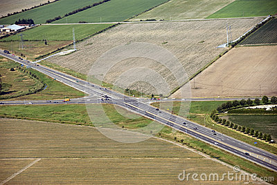 Highway intersection in the fields