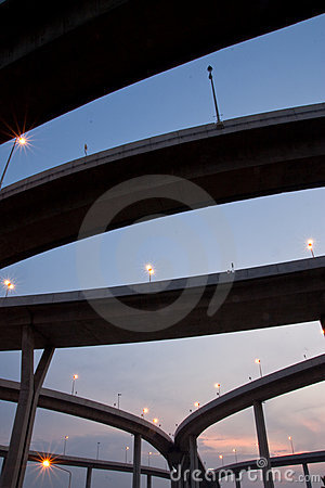 Highway junction at twilight