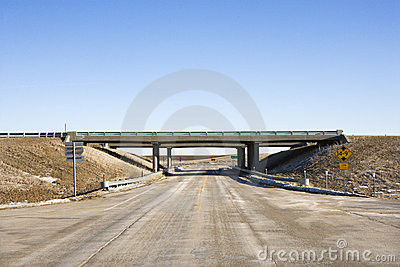 Highway with overpass bridge.