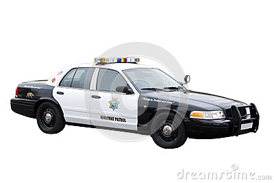Highway patrol police car isolated on white