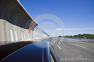 Highway with protection walls