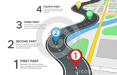 Highway road infographic. Street roads map, gps navigation way path and town journey pin directions sign 3d vector Vector Illustration