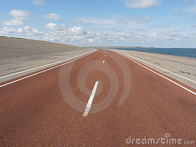 Highway on sandy coastline