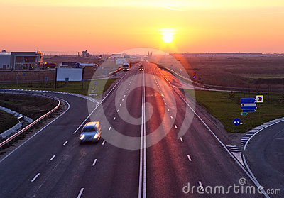 Highway at sunrise