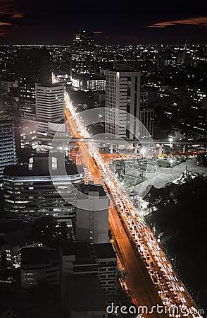 Highway traffic jam in the night