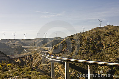 Highway under windmill scenic