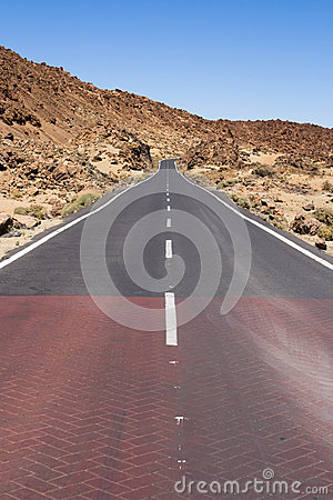 Highway through volcanic land
