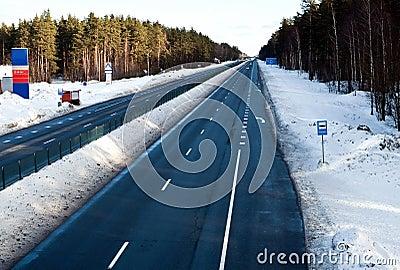 Highway in winter in Eastern Europe