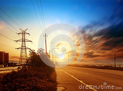 Highways and high-voltage tower