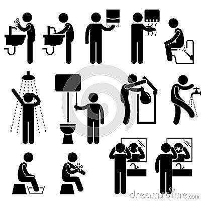 Higiene pessoal no pictograma do toalete