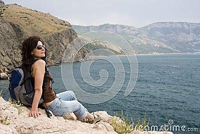 Hiker над морем
