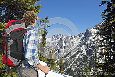 Hiker admiring the view