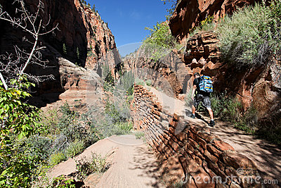 Hiker, Angels Landing trail in Zion National Park