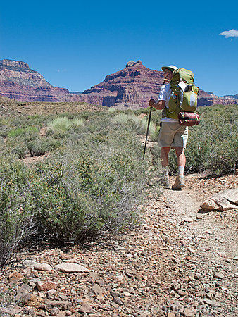 Hiker Backpacking in Grand Canyon