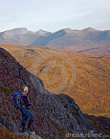 Hiker on Buachaille Etive Mor