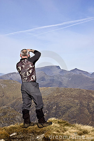 Hiker on Buachaille Etive Mor