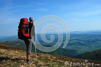 Hiker in Carpathian Mountains