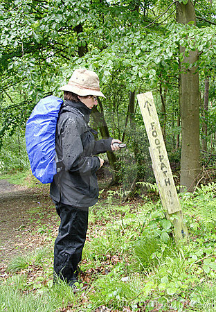 Free Hiker Checking The Direction Royalty Free Stock Photo - 1398495