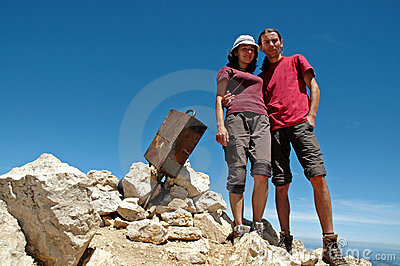 Hiker couple on the summit