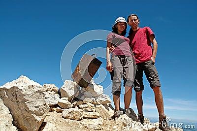 Hiker couple on the summit