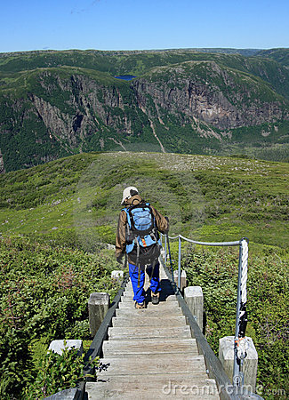 Hiker Descending Stairs on Gros Morne Mountain