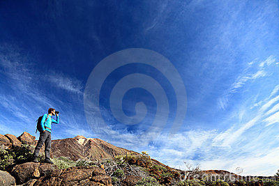 Hiker in dramatic landscape