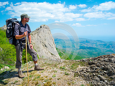 Hiker enjoys landscape