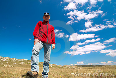 Hiker on the field