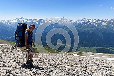 Hiker girl in mountain wally.