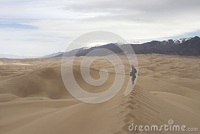 Hiker at Great Sand Dunes National Park and Preser