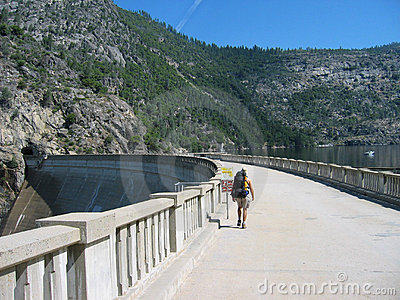 Hiker on Hetch Hetchy Dam