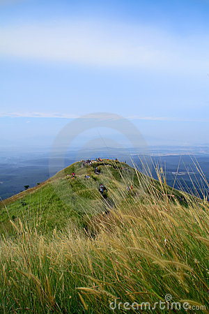 Hiker at hill of grassland