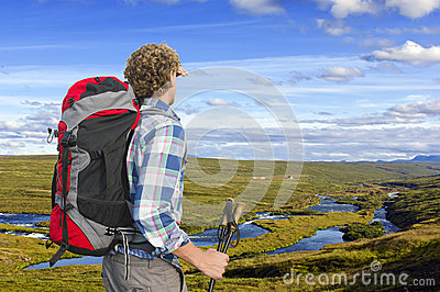 Hiker, looking into the distance