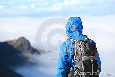 Hiker looking at view