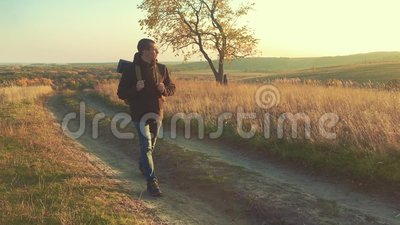 Hiker man tourist walking mountains trekking alone. Active successful man travelling with backpack. Travel Concept. Active traveler go travel nature outdoors stock footage
