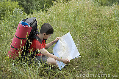 Hiker with the map