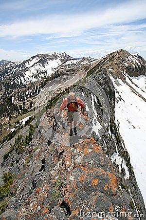 hiker on mountain ridge