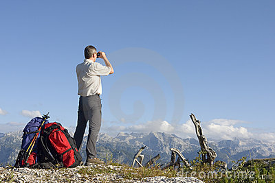 Hiker on mountain summit