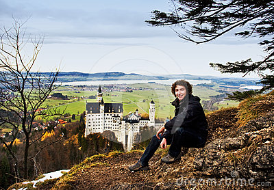 Hiker and Neuschwanstein Castle