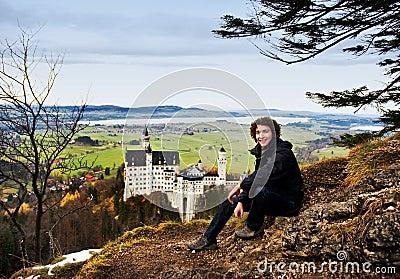Hiker and Neuschwanstein Castle