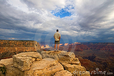 Hiker on Peak in Grand Canyon
