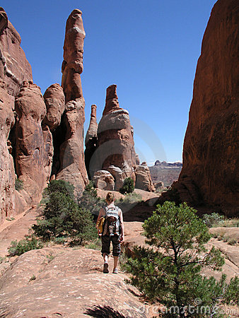 Free Hiker Red Rock Fiery Furnace Stock Images - 2359334