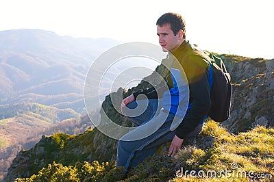 Hiker resting