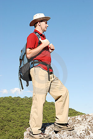 Hiker on the rock
