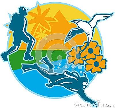 Hiker Scuba Diver Island Tropicbird Flowers Retro