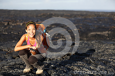 Hiker showing lava on Big Island, Hawaii