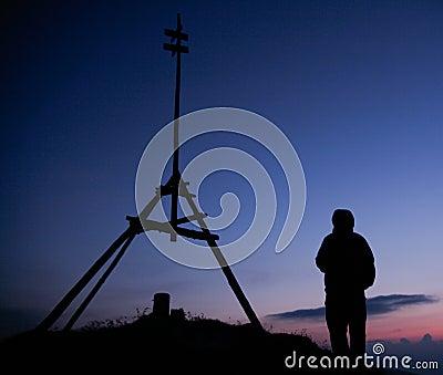 Hiker silhouette